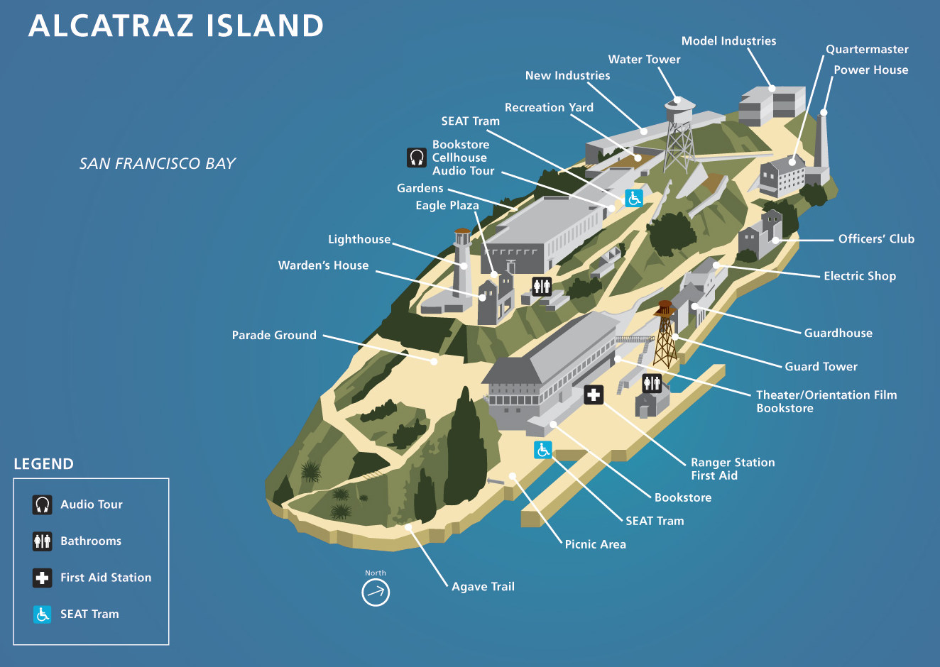 Image result for labeled diagram of alcatraz