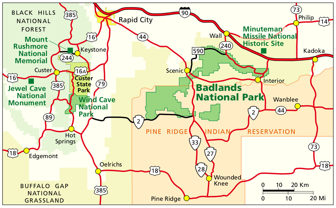 Badlands Maps NPMapscom just free maps period
