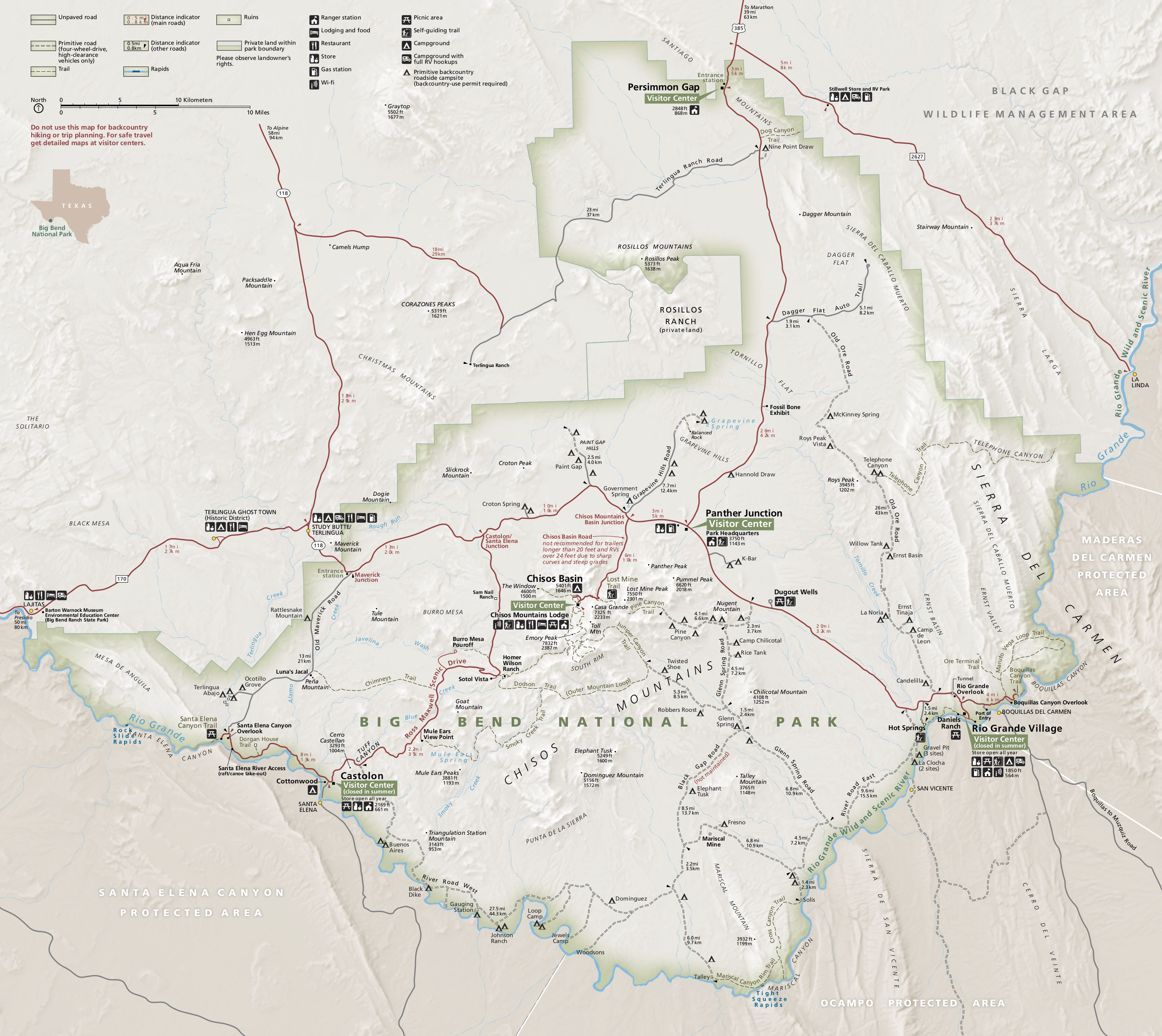 Big Bend Maps NPMapscom just free maps period