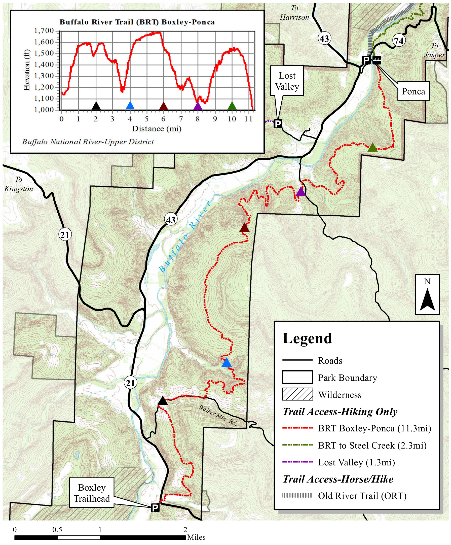 buffalo river trail map boxley to ponca. buffalo river maps  npmapscom  just free maps period