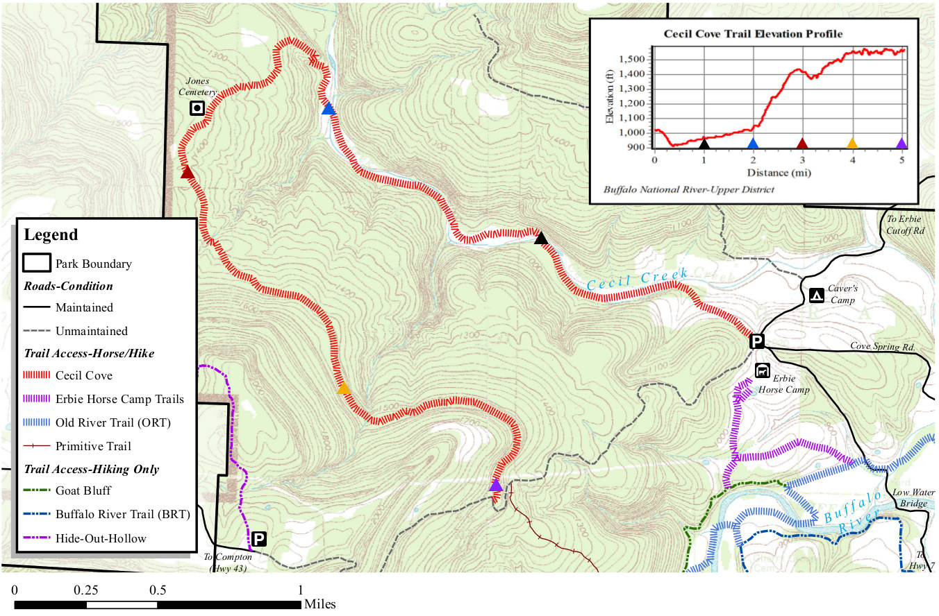 cecil cove trail map. buffalo river maps  npmapscom  just free maps period