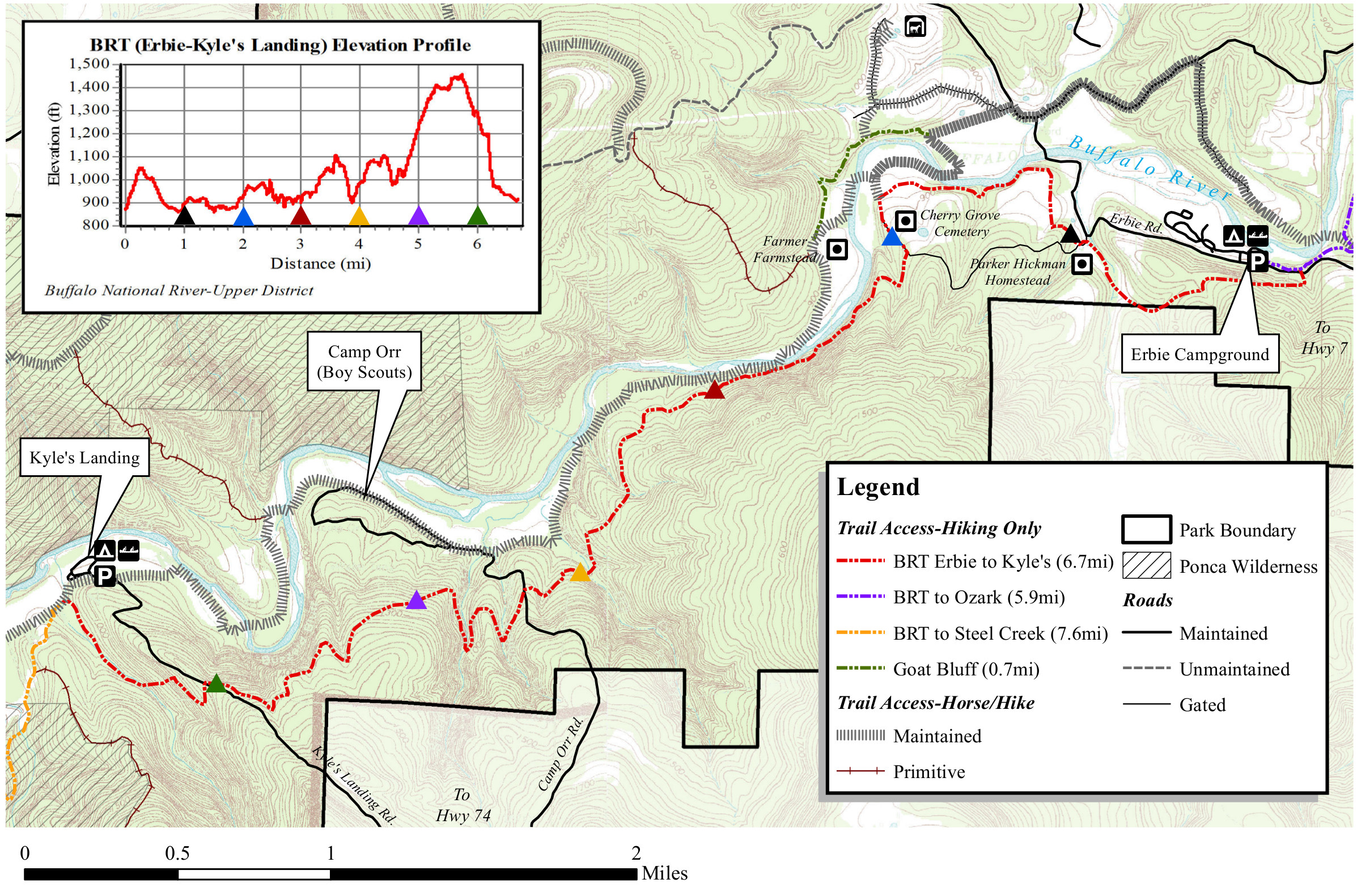 buffalo river trail map kyles landing to erbie. buffalo river maps  npmapscom  just free maps period