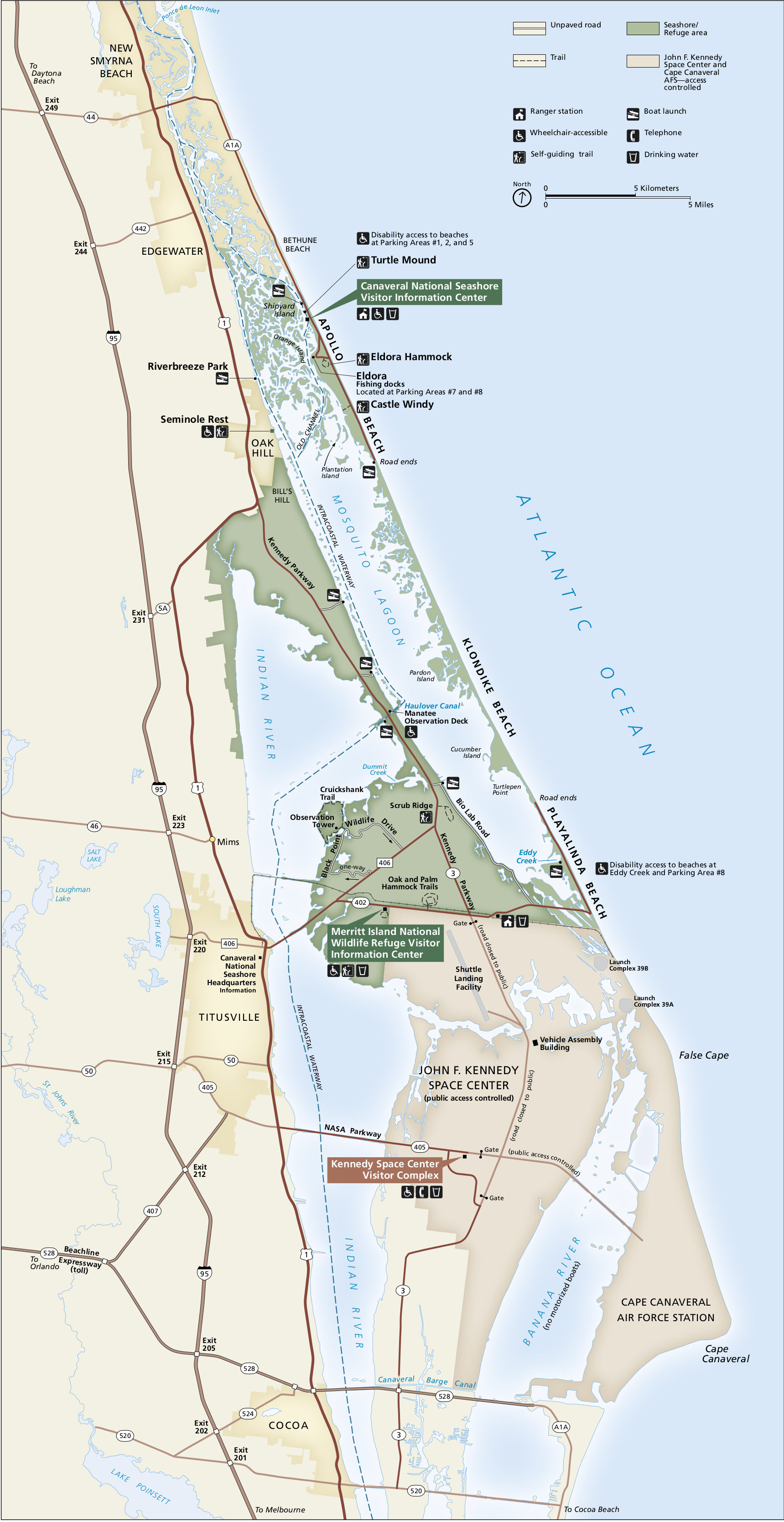 canaveral national seashore map. canaveral maps  npmapscom  just free maps period