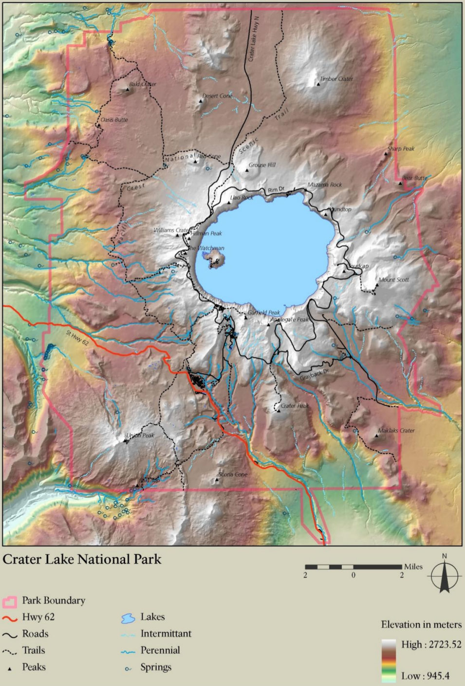 Crater Lake Topographic Map.Crater Lake Maps Npmaps Com Just Free Maps Period