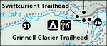 Glacier National Park Logan Pass St. Mary Many Glacier trail map thumbnail