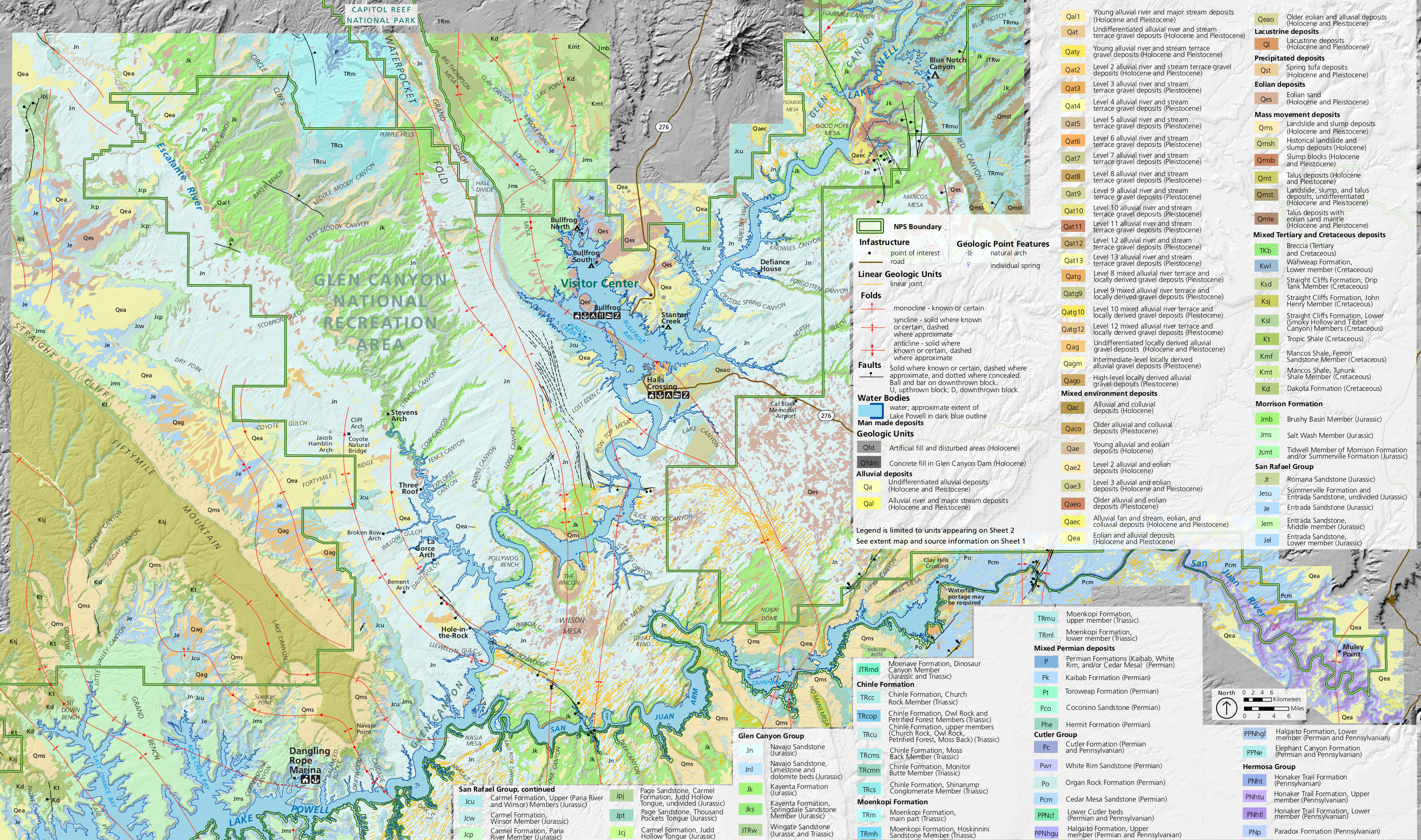 glen canyon geologic map (central). lake powell maps  npmapscom  just free maps period