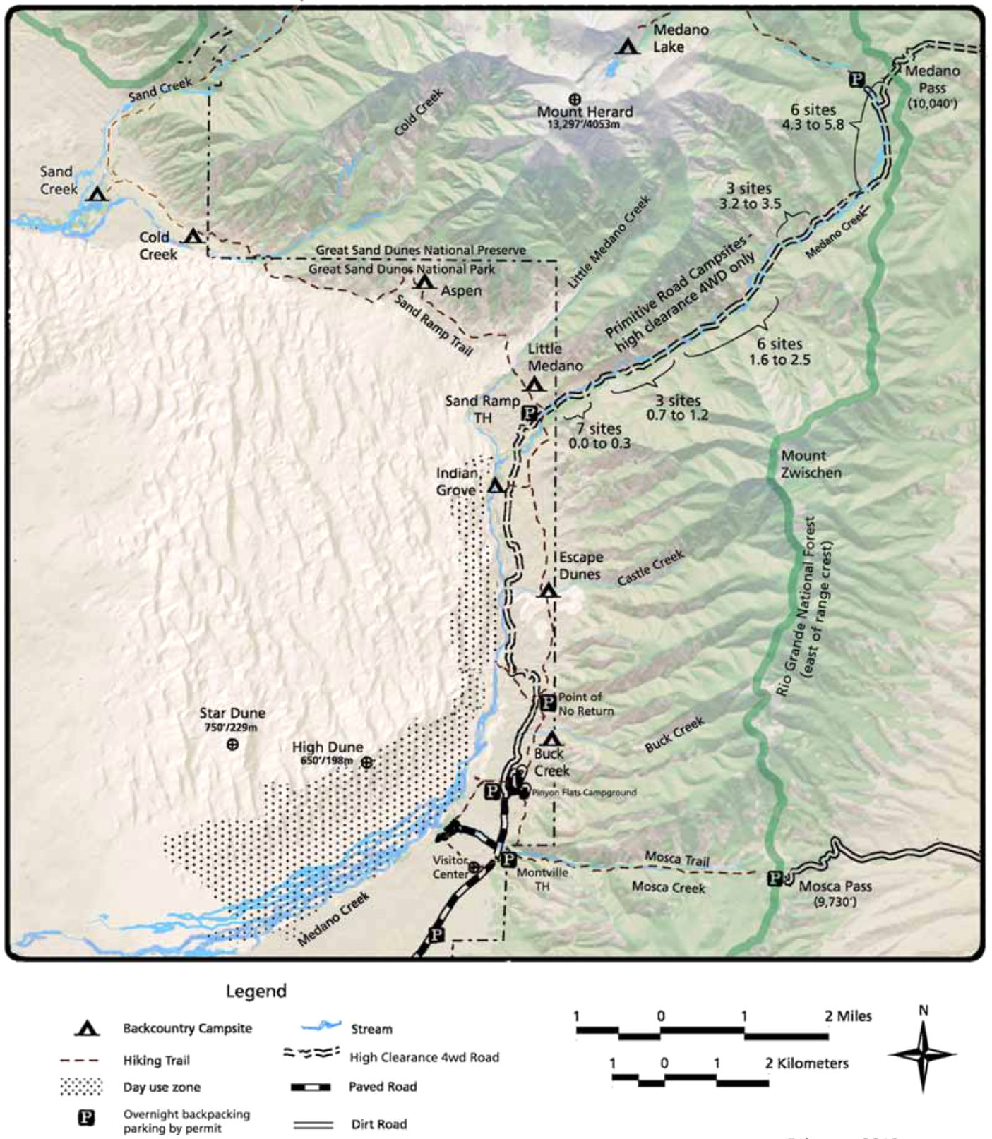 Great Sand Dunes Maps NPMapscom just free maps period