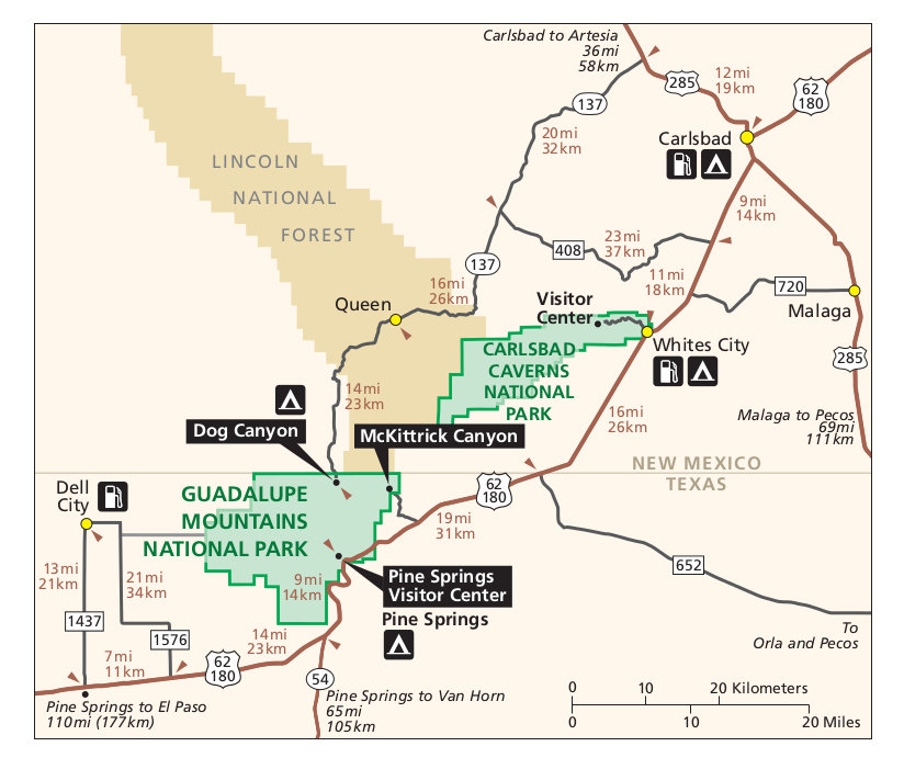 National Parks In New Mexico Map.Guadalupe Mountains Maps Npmaps Com Just Free Maps Period