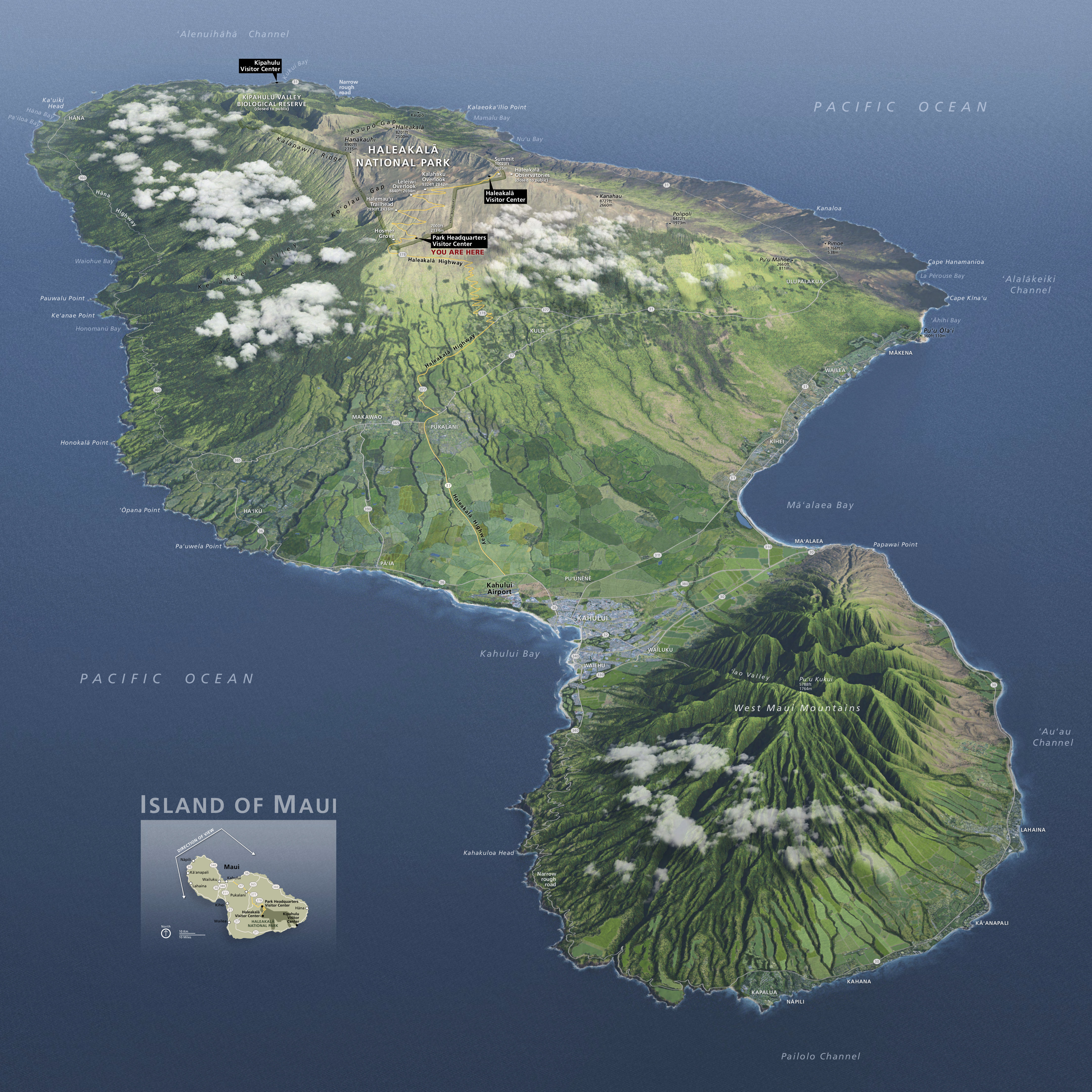 Topographic Map Of Maui.Haleakala Maps Npmaps Com Just Free Maps Period