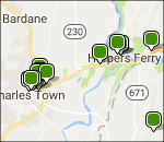 Harpers Ferry lodging map