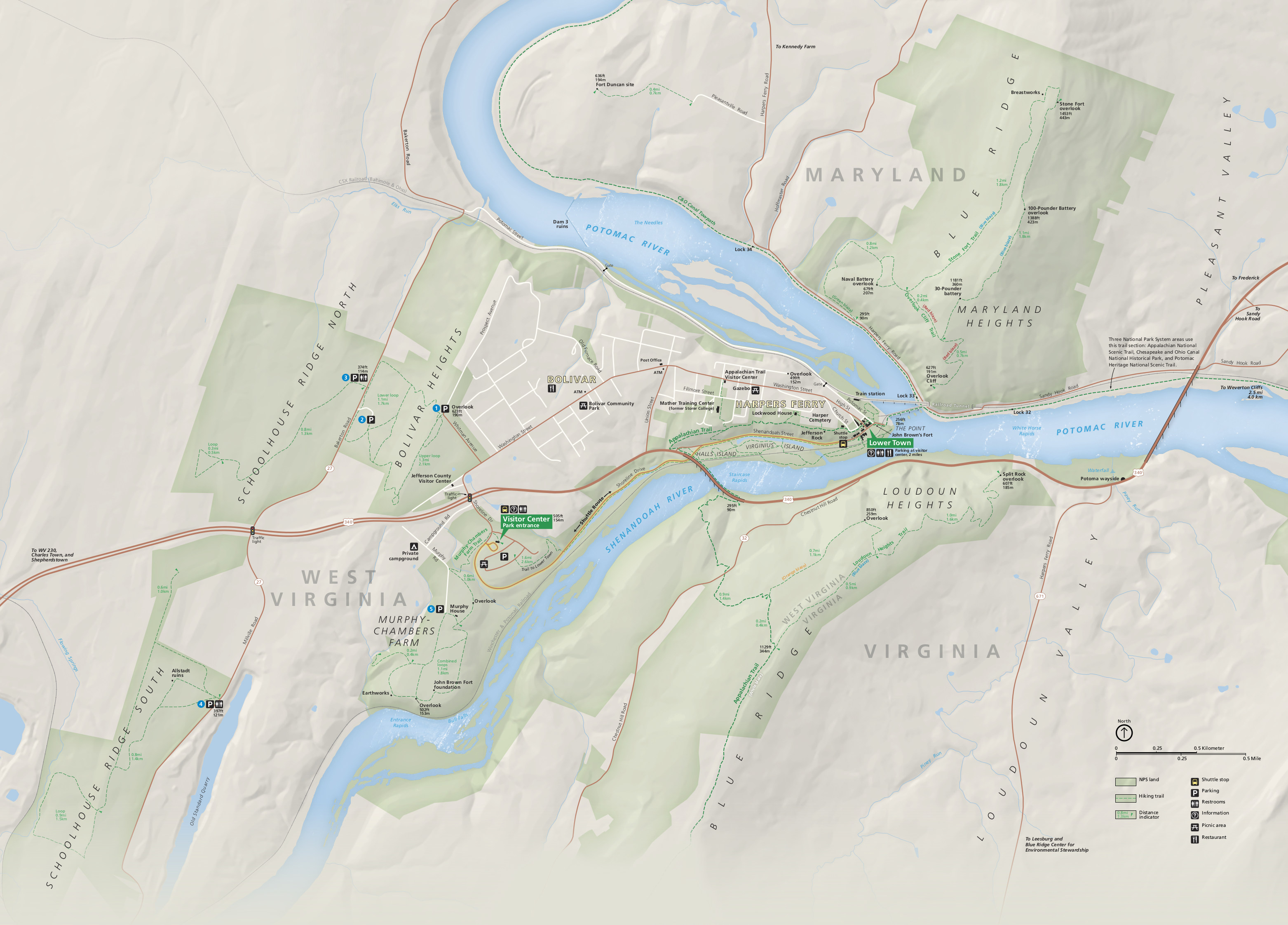 Harpers Ferry Maps NPMapscom just free maps period