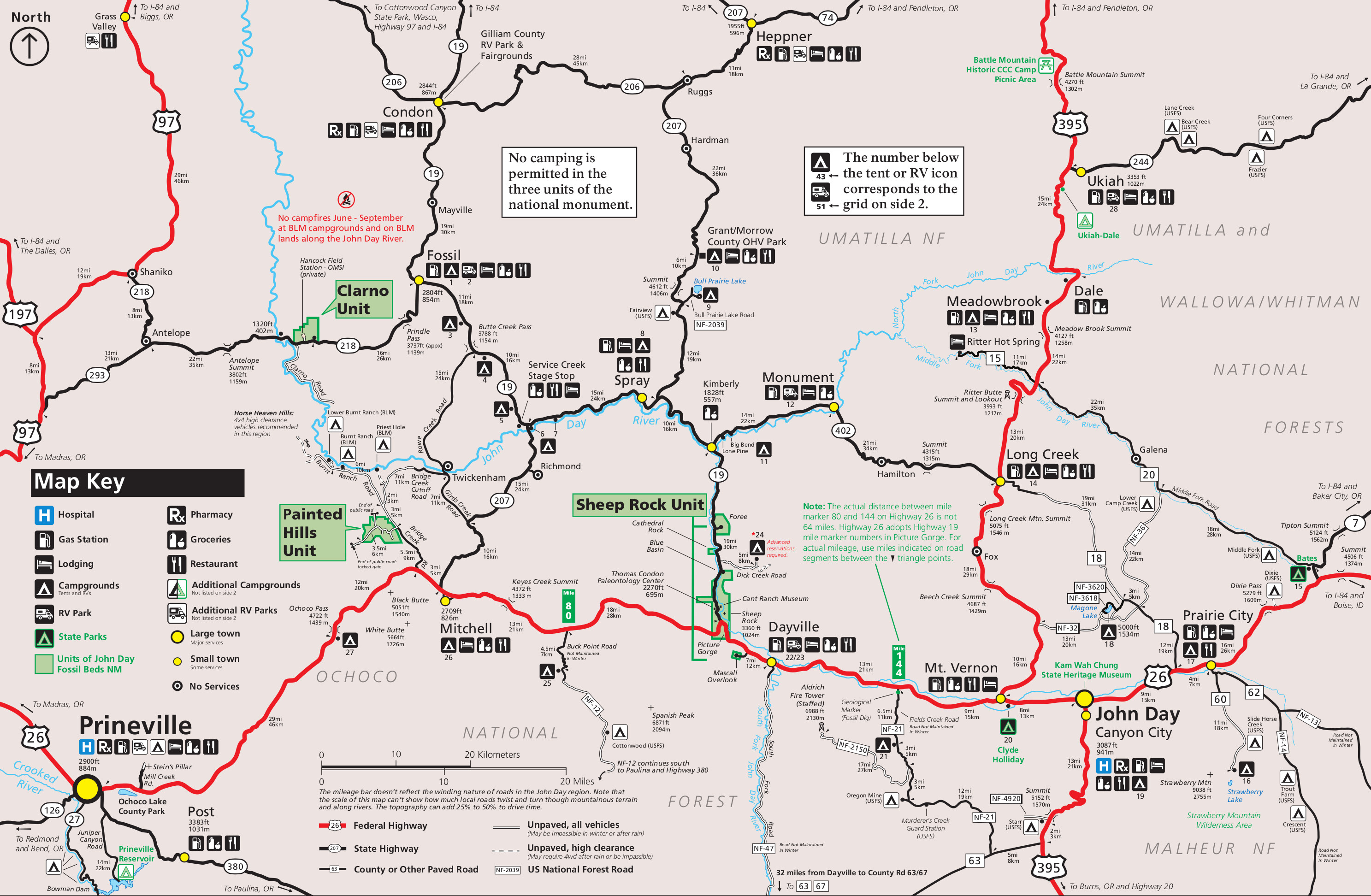 Map Of John Day Oregon John Day Fossil Beds Maps | NPMaps.  just free maps, period.