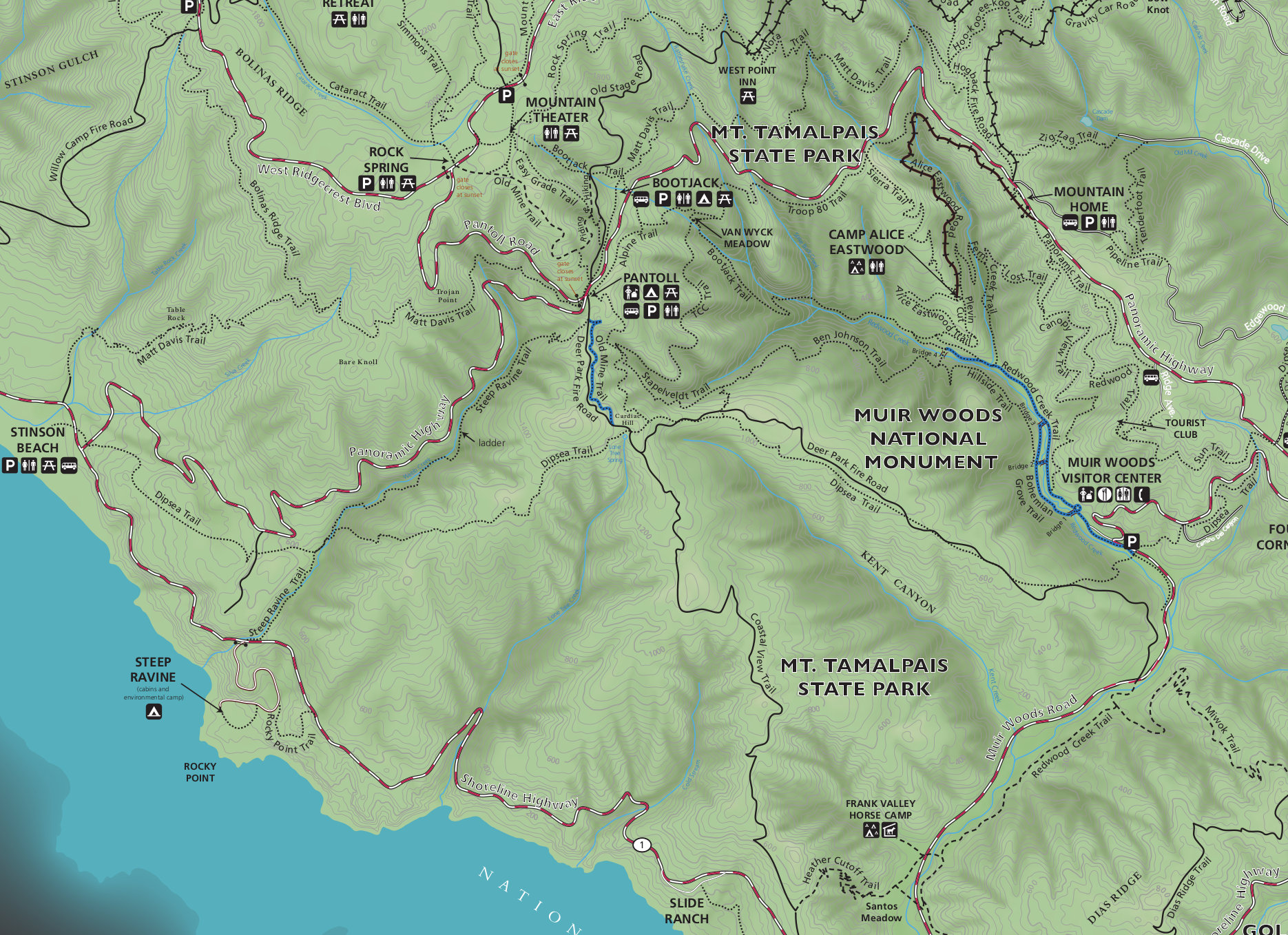 Muir woods maps npmaps just free maps period muir woods trail and topo map publicscrutiny Image collections