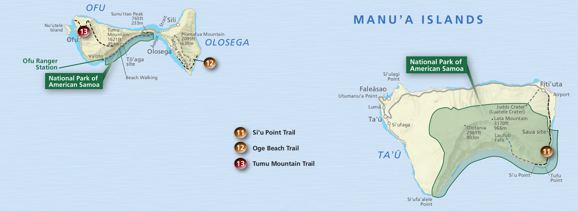 national park of american samoa manua islands map