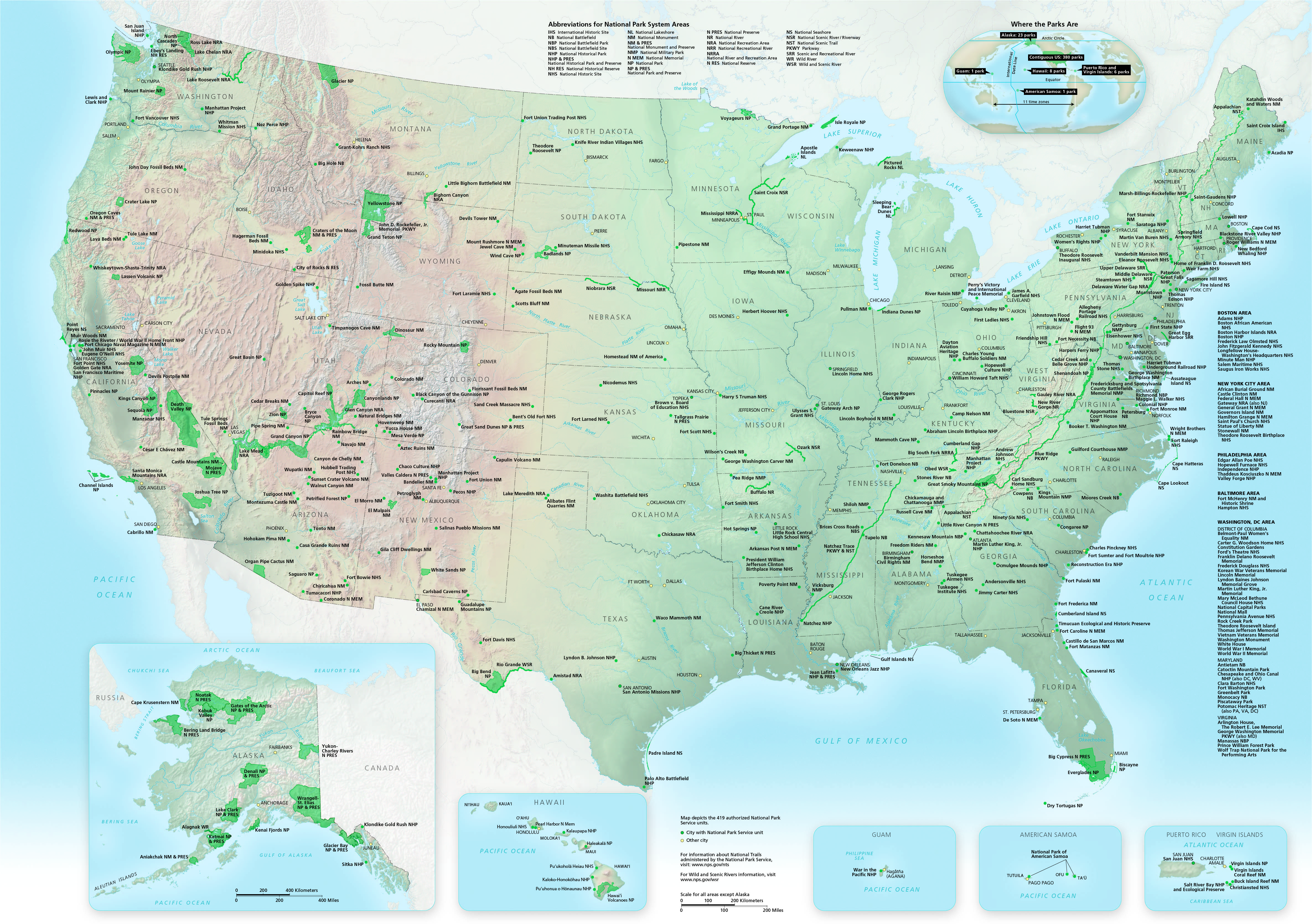 Us Map With National And State Parks Parks by State | NPMaps.  just free maps, period.