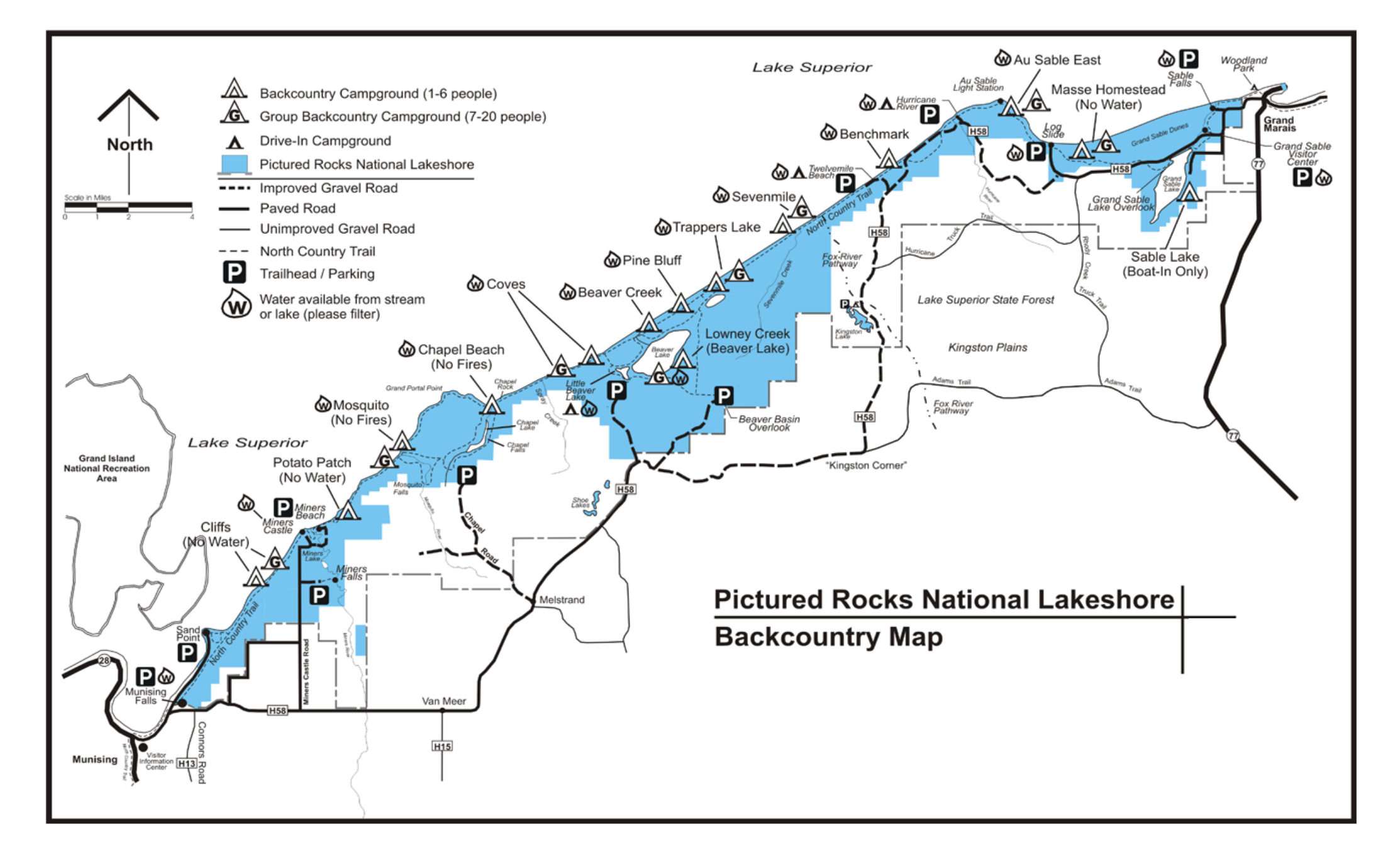 Pictured Rocks Maps NPMapscom just free maps period