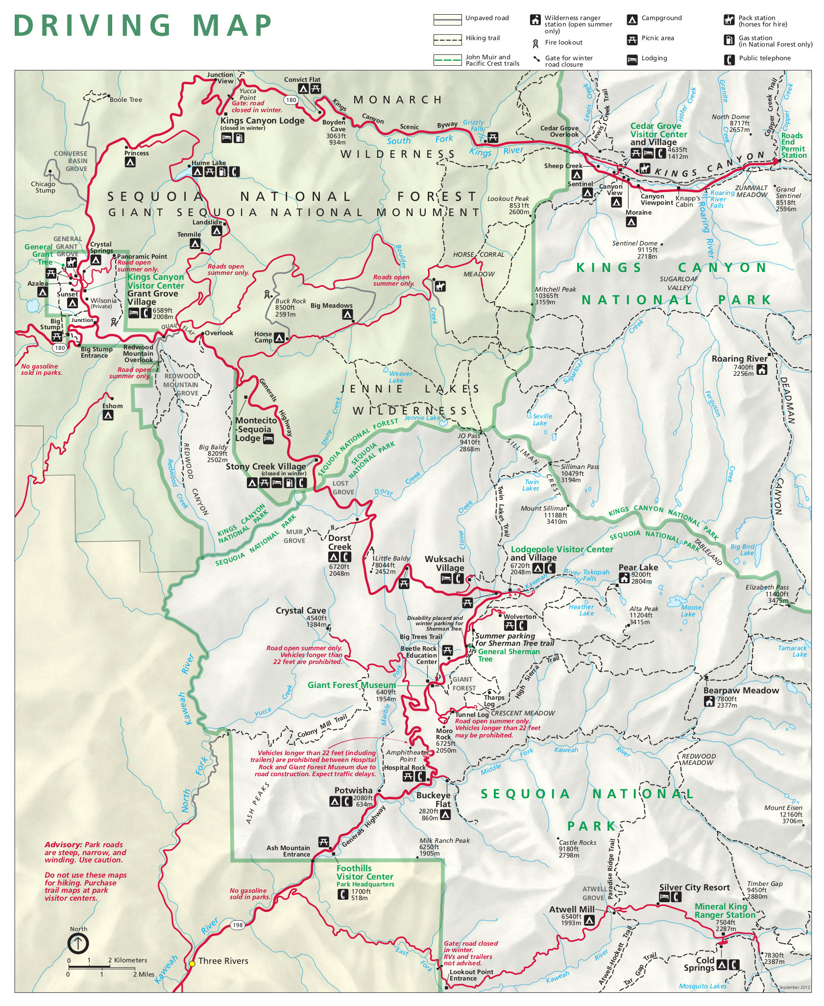 sequoia and kings canyon detail map. sequoia maps  npmapscom  just free maps period