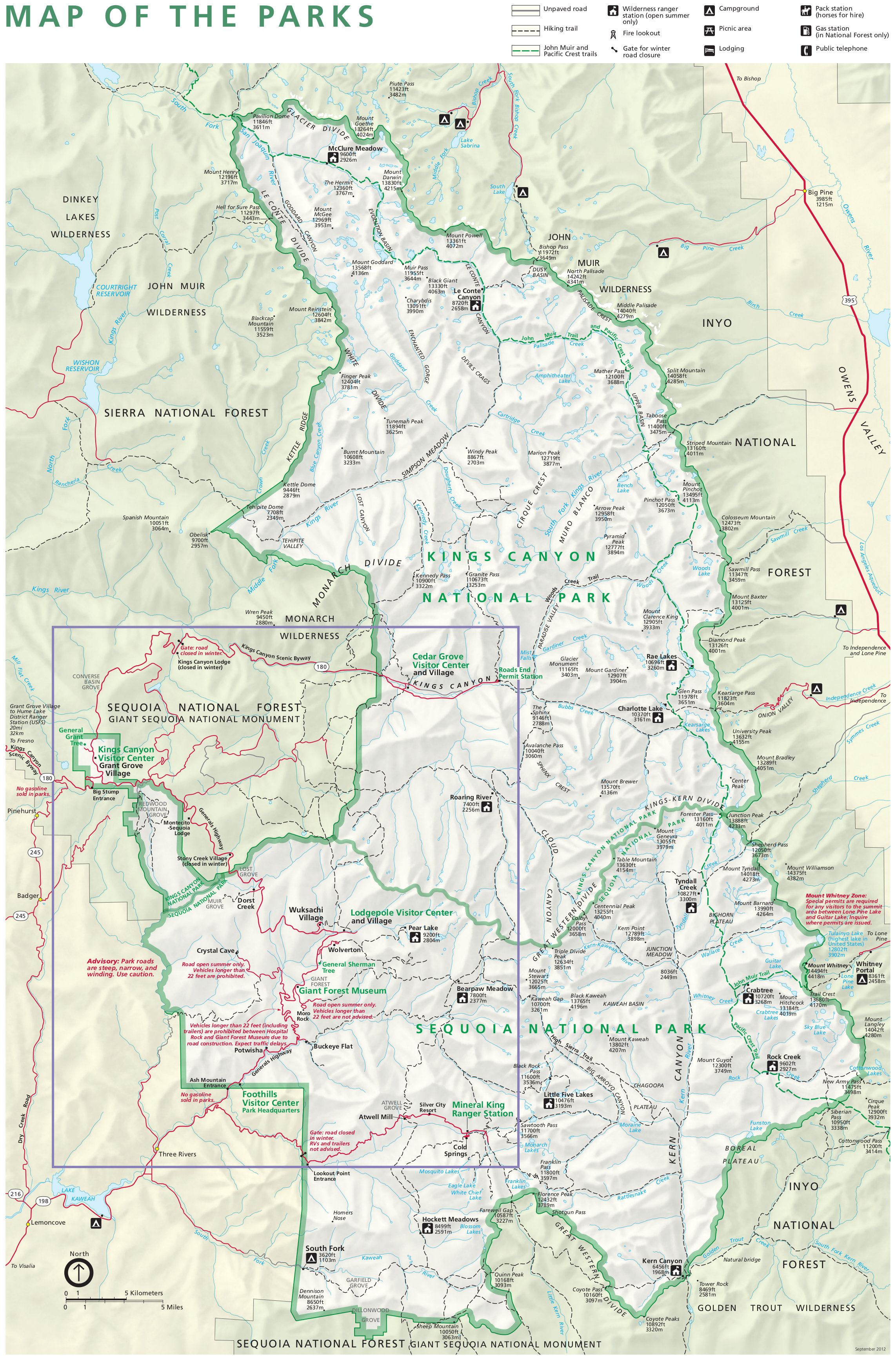 sequoia and kings canyon national park map. sequoia maps  npmapscom  just free maps period