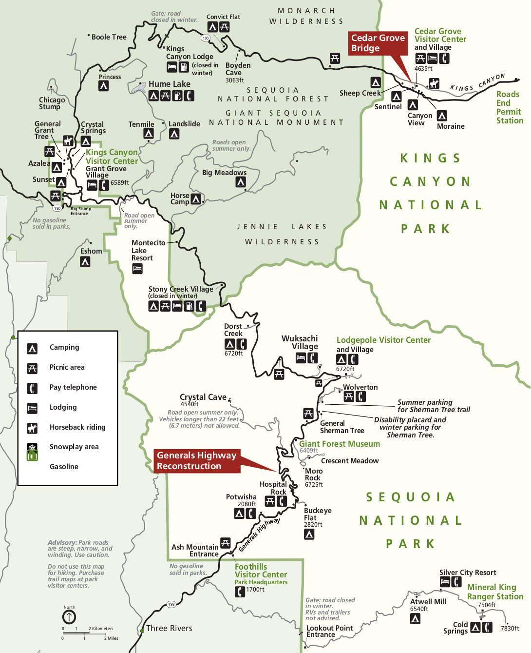 sequoia and kings canyon printable map. sequoia maps  npmapscom  just free maps period