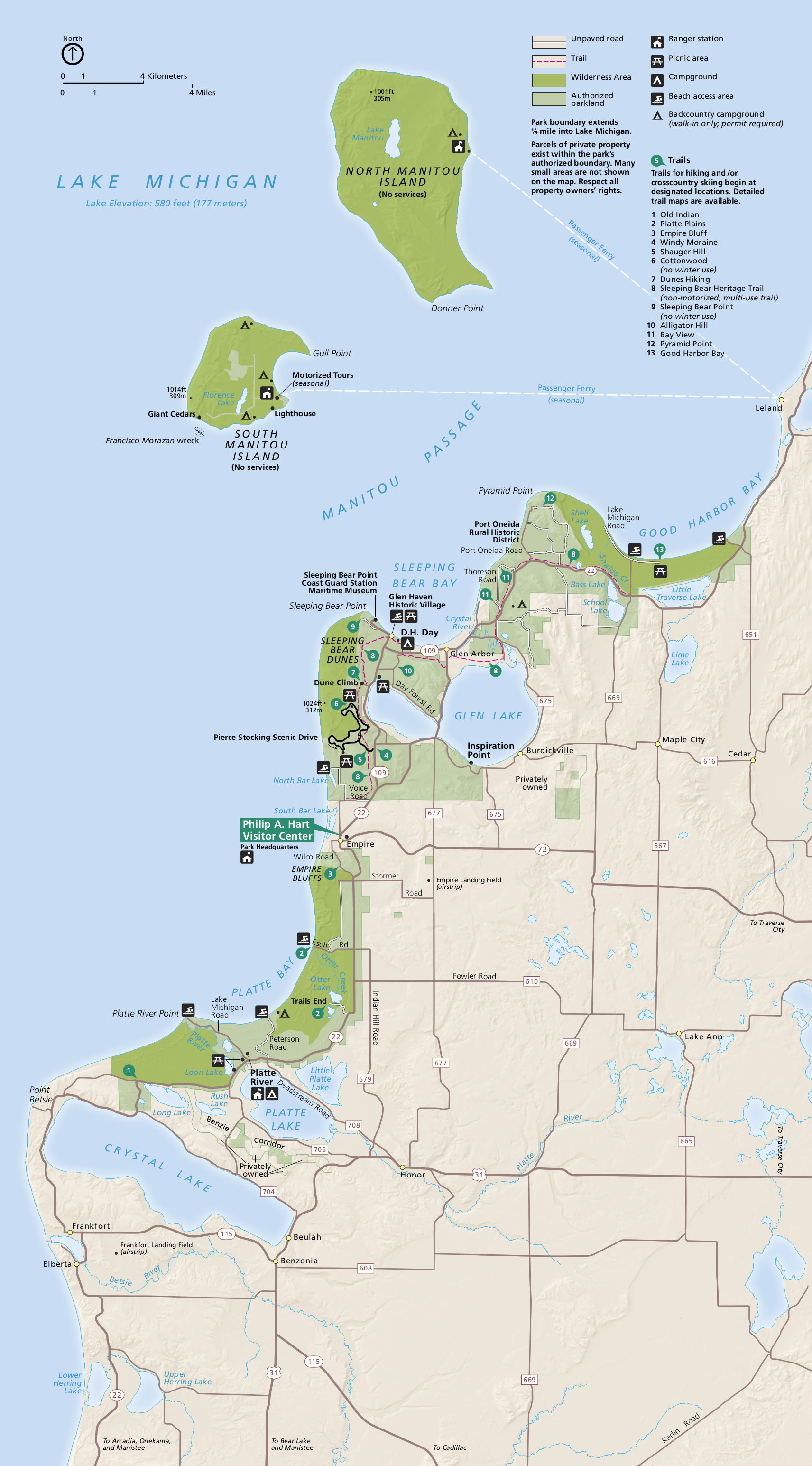 Sleeping bear dunes map
