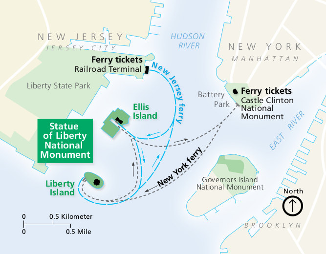 Statue of Liberty and Ellis Island Maps