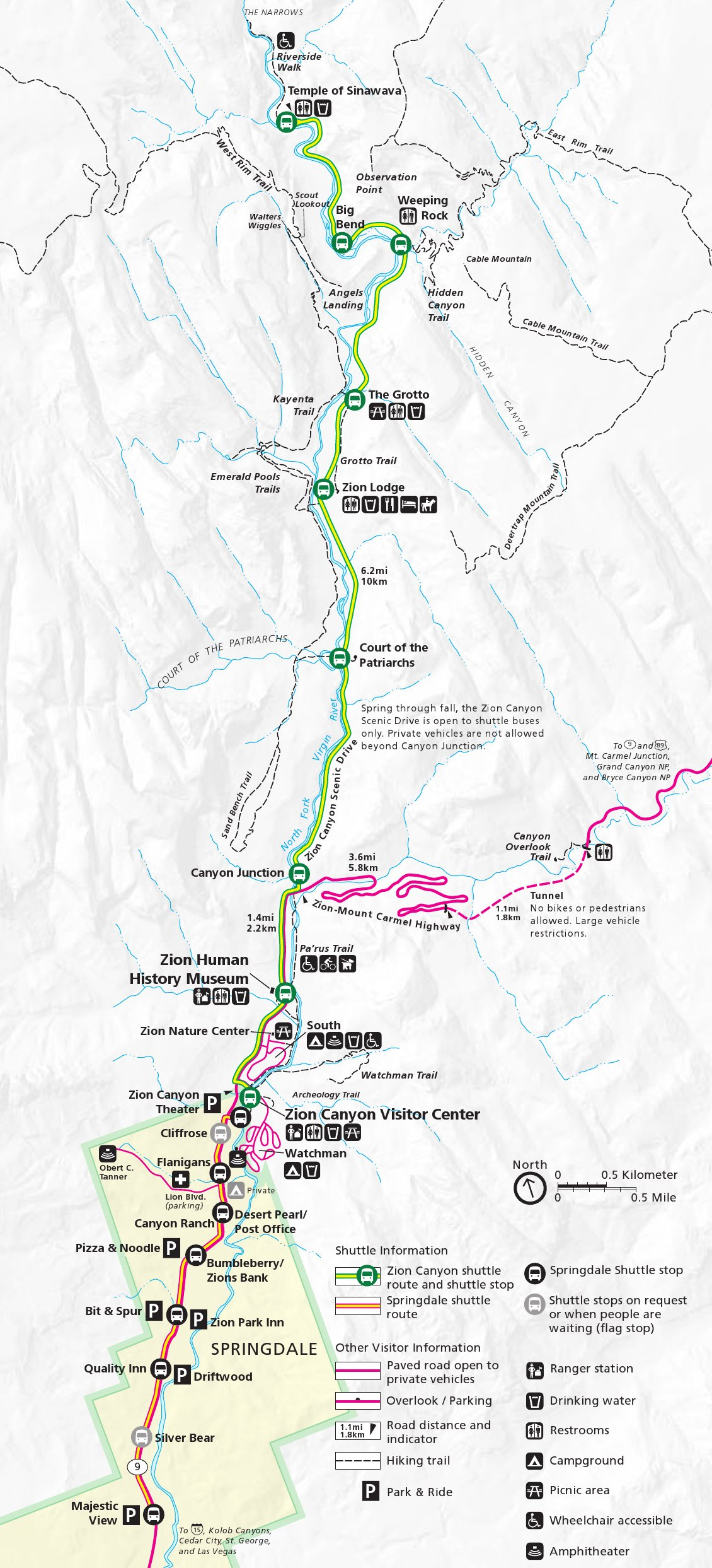 Zion National Park Zion Canyon Shuttle Bus Map Thumbnail