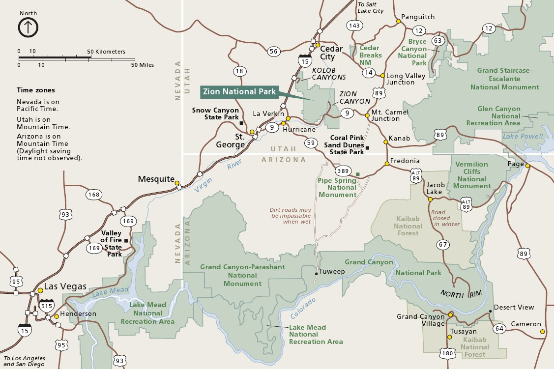 Zion Maps | NPMaps.com - just free maps, period. Zion National Park Map on