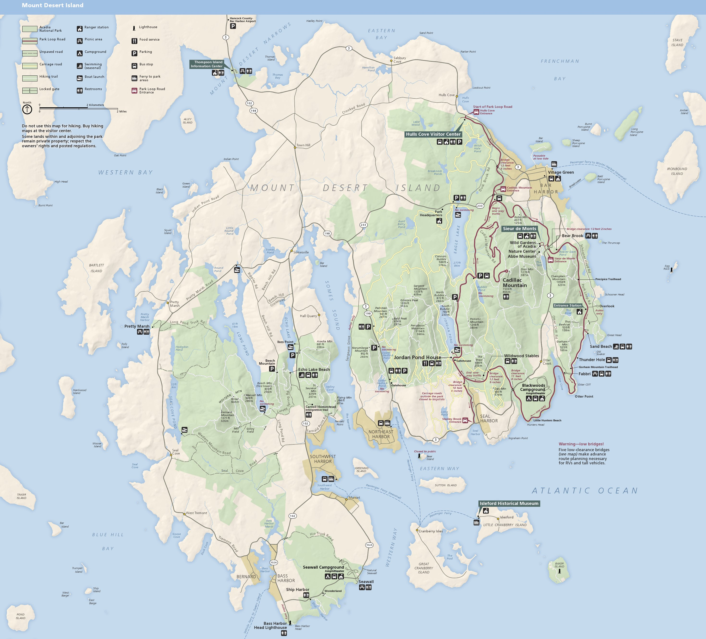 Acadia Park Map Acadia Maps | NPMaps.  just free maps, period.