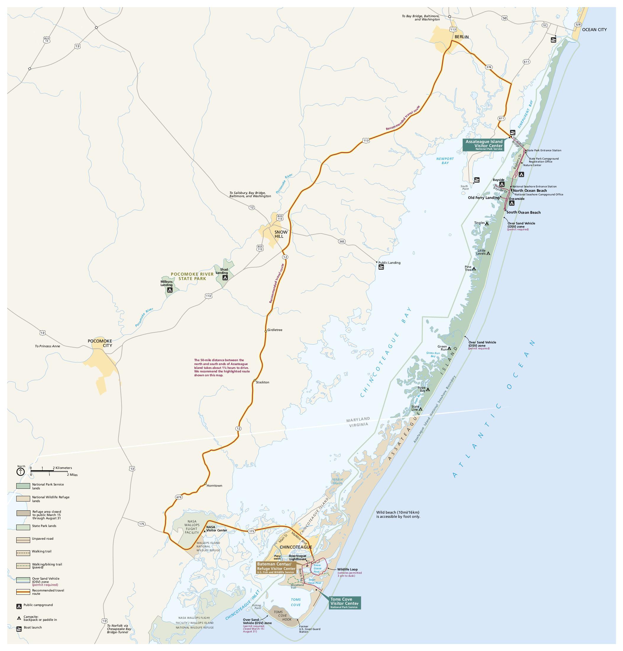Map Of Assateague Island Assateague Island Maps | NPMaps.  just free maps, period.