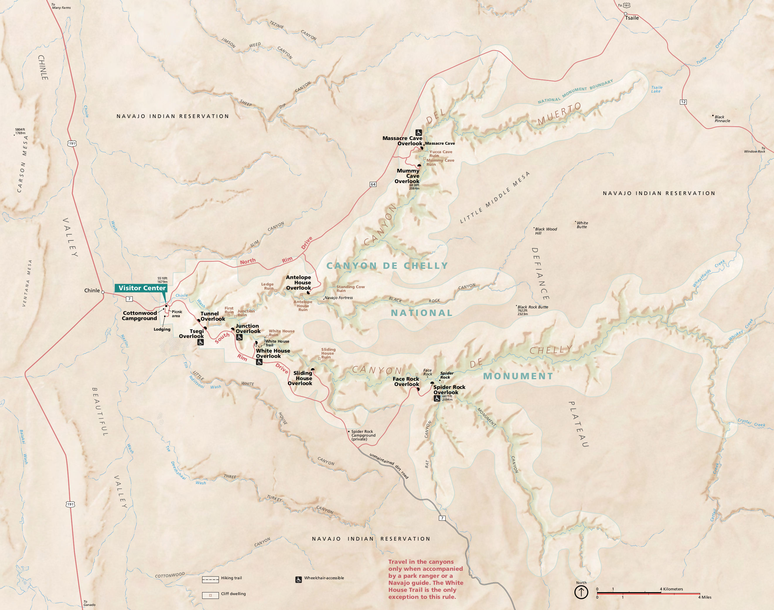 Canyon De Chelly Map Canyon de Chelly Maps | NPMaps.  just free maps, period.