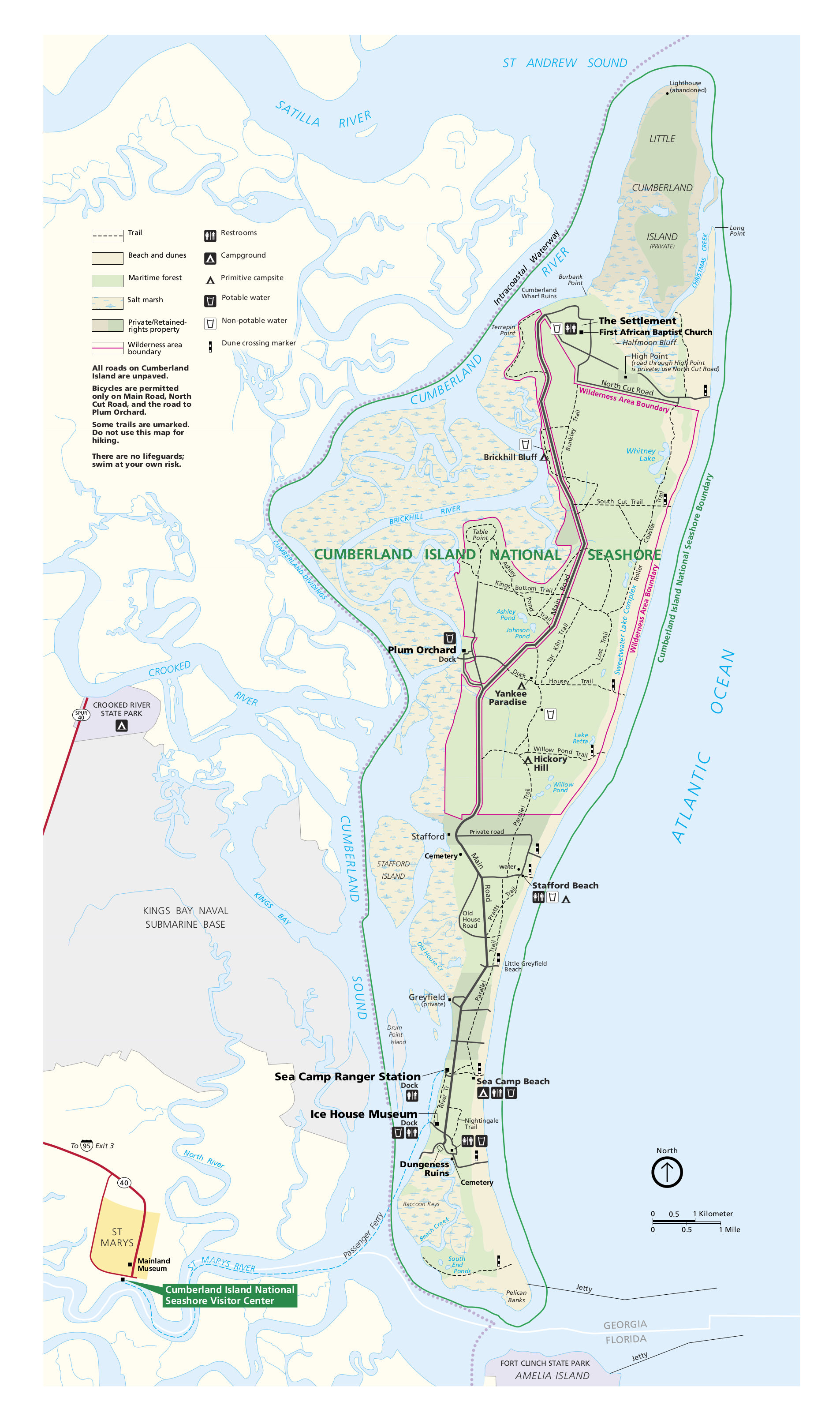 Cumberland Island Map Cumberland Island Maps | NPMaps.  just free maps, period.
