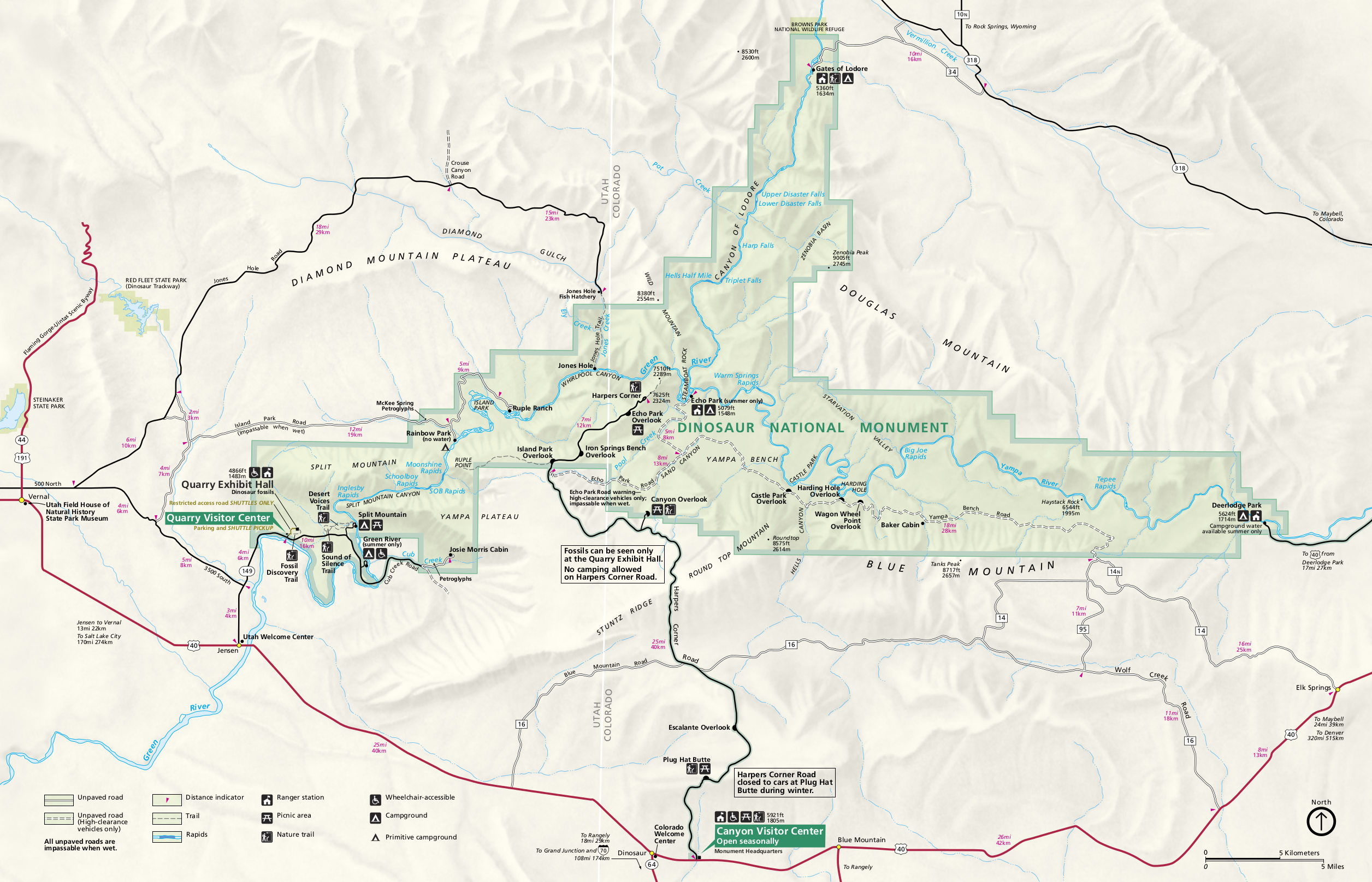 Dinosaur National Monument Map Dinosaur Maps | NPMaps.  just free maps, period.
