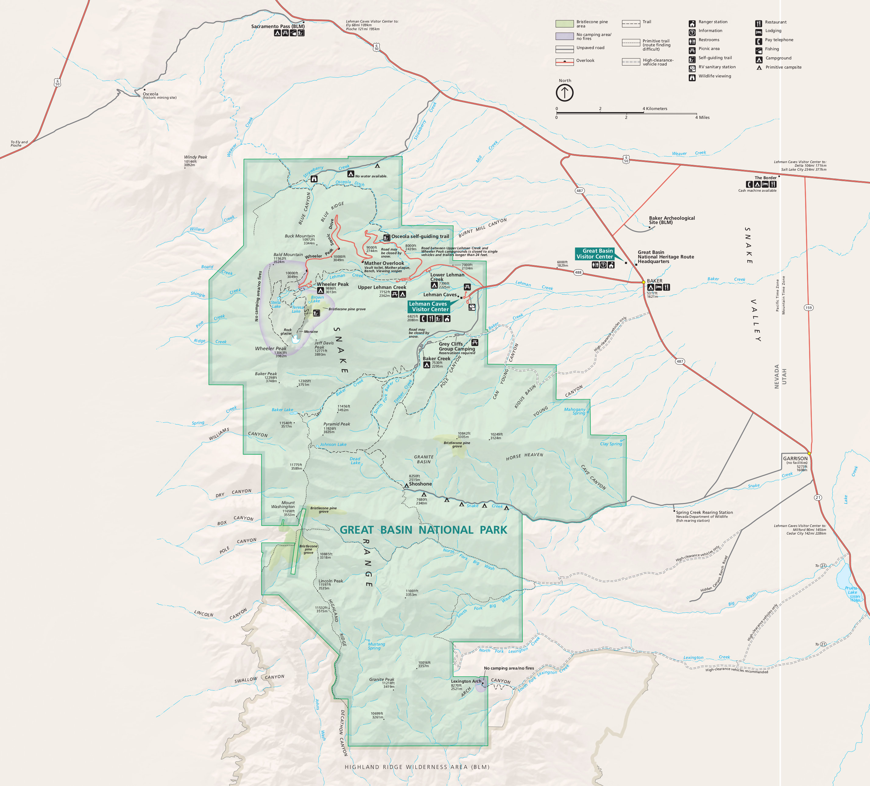 Great Basin National Park Map Great Basin Maps | NPMaps.  just free maps, period.