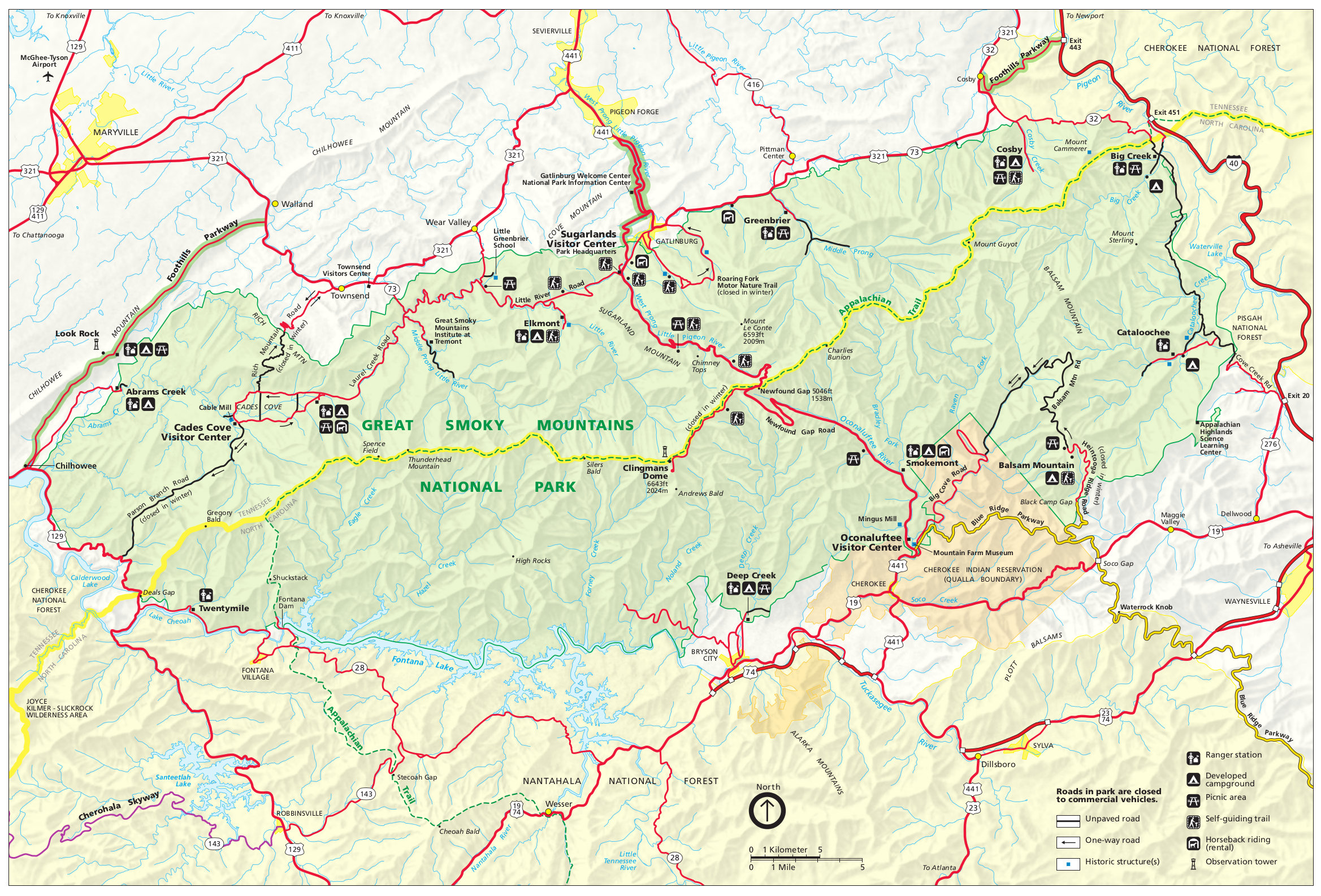 Great Smoky Mountains Map Great Smoky Mountains Maps | NPMaps.  just free maps, period.