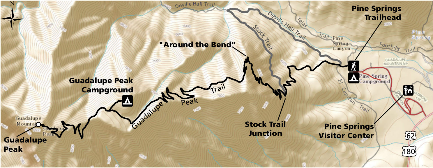 Image result for guadalupe peak trail map