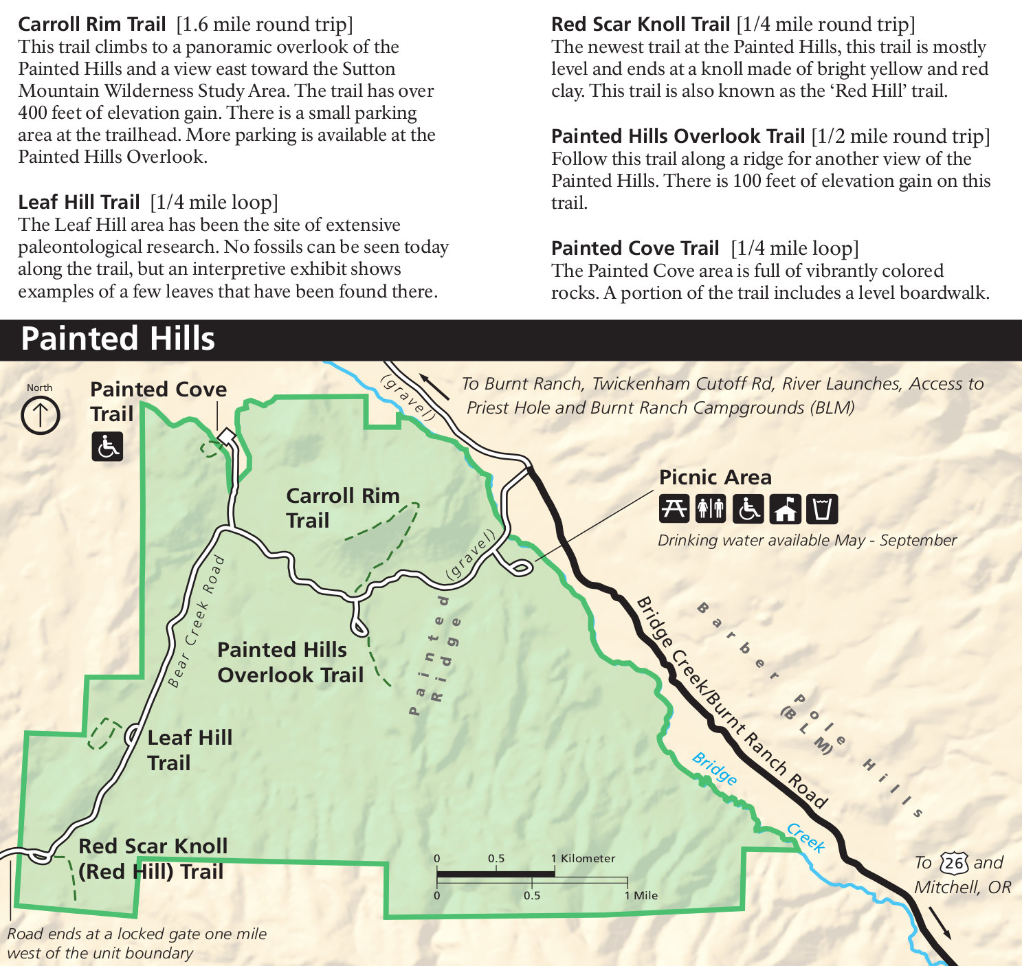 Painted Hills Oregon Map John Day Fossil Beds Maps | NPMaps.  just free maps, period. Painted Hills Oregon Map