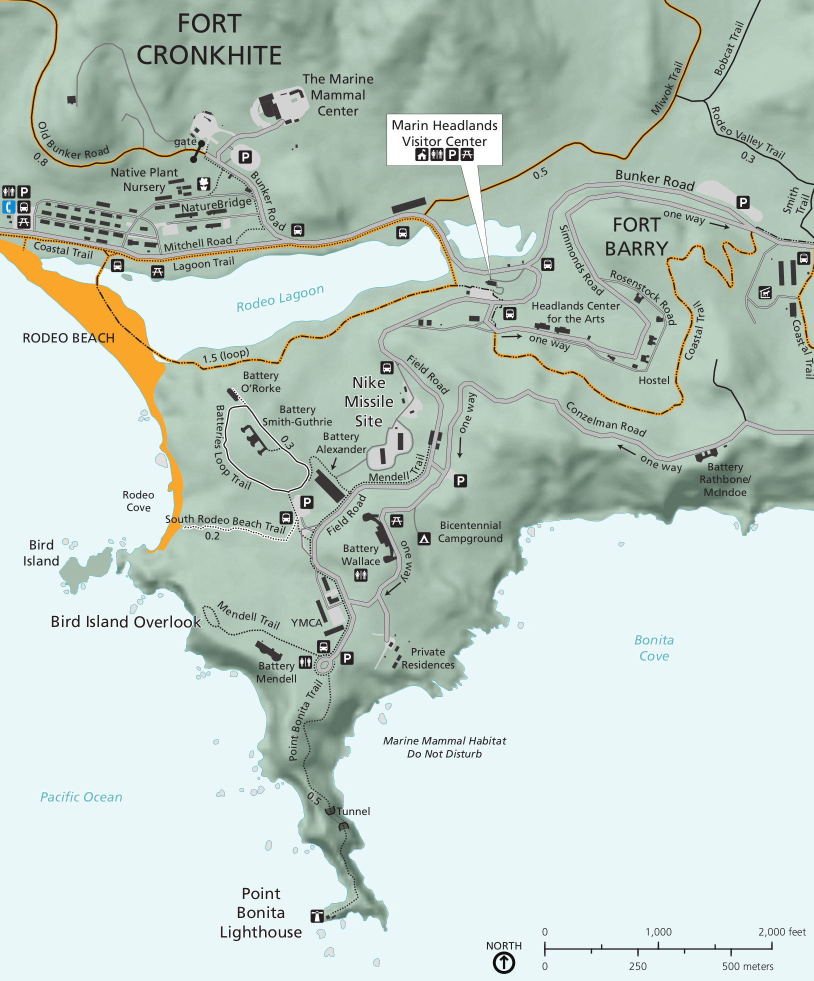 Marin Headlands Map Golden Gate Maps | NPMaps.  just free maps, period.