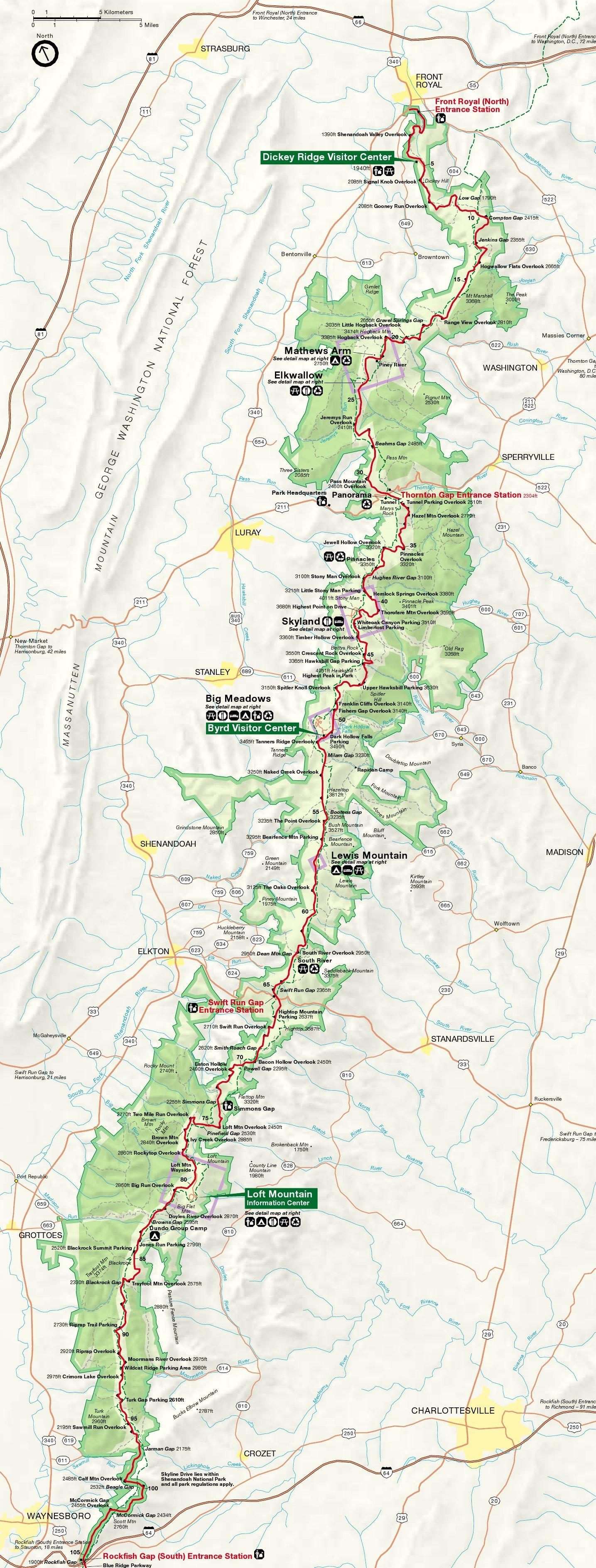 Map Of Shenandoah National Park Shenandoah Maps | NPMaps.  just free maps, period. Map Of Shenandoah National Park