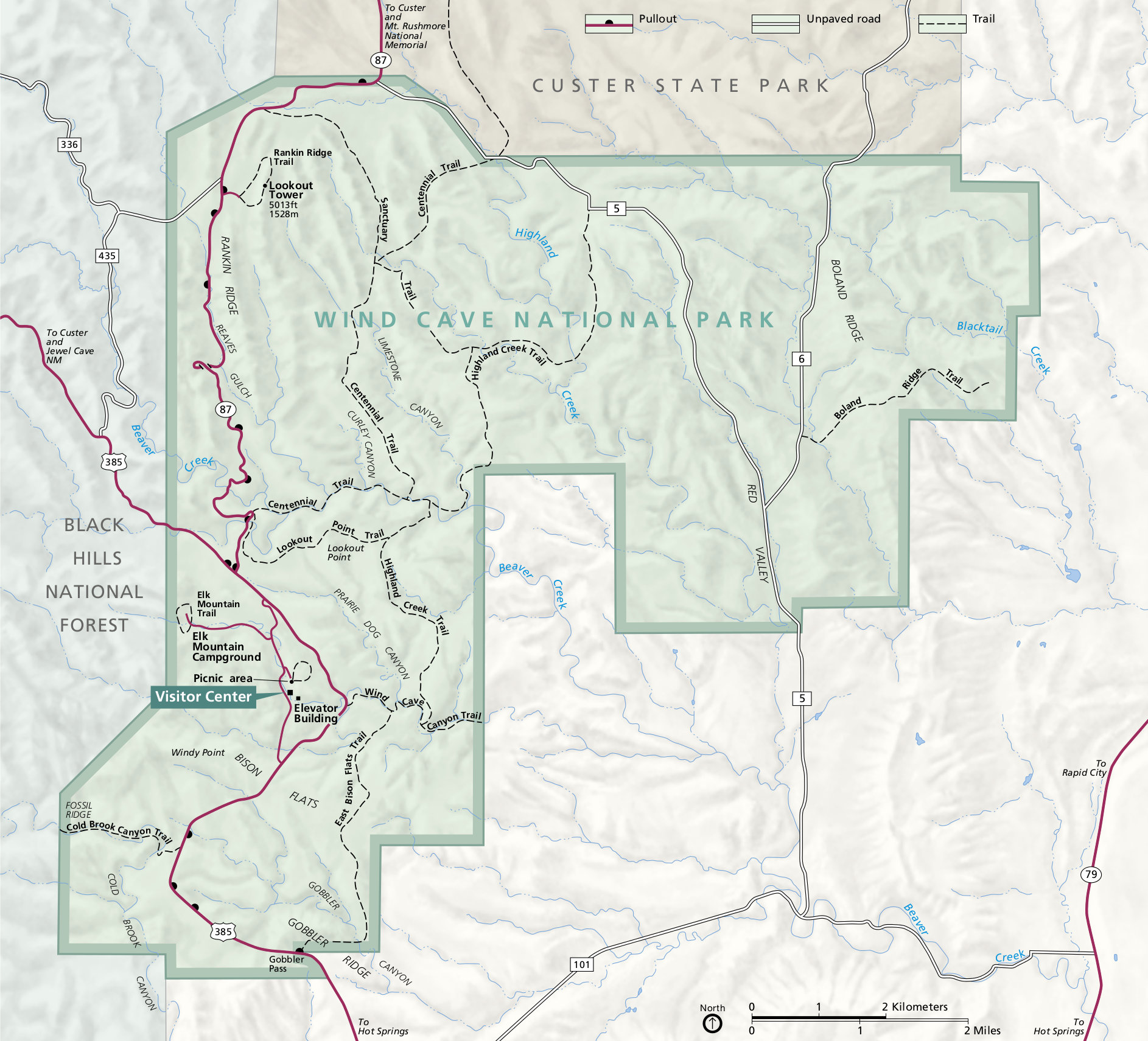 Wind Cave National Park Map Wind Cave Maps | NPMaps.  just free maps, period.