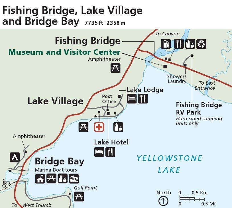 Yellowstone National Park Fishing Bridge Lake Village Map Thumbnail