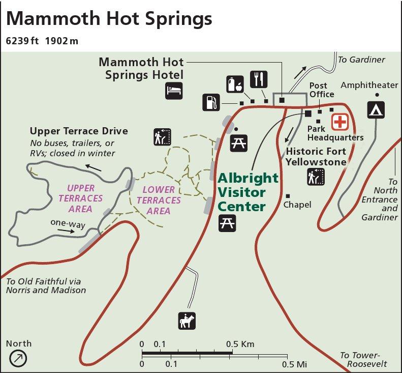 Yellowstone National Park Mammoth Hot Springs Map Thumbnail