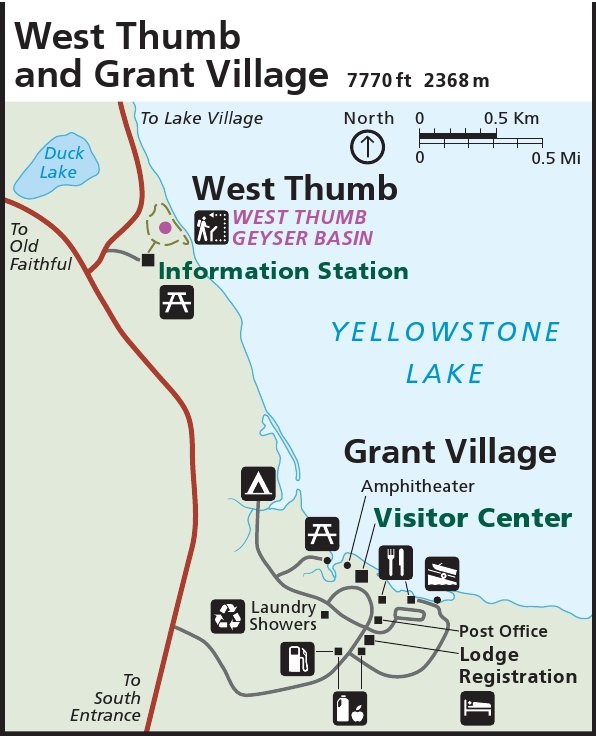 Yellowstone National Park West Thumb And Grant Village Map Thumbnail